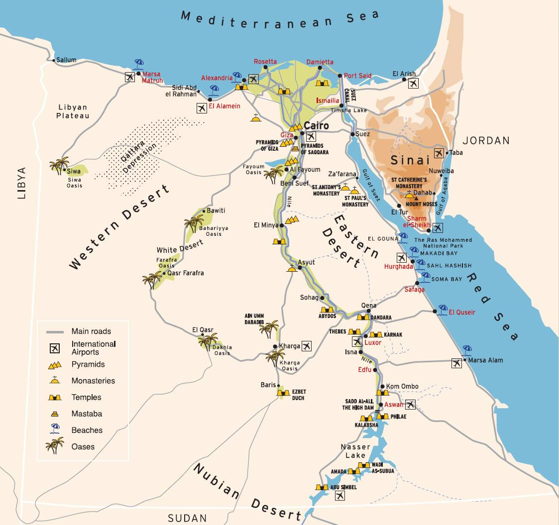 Map of Egypt pyramids, temples, beaches and oases.