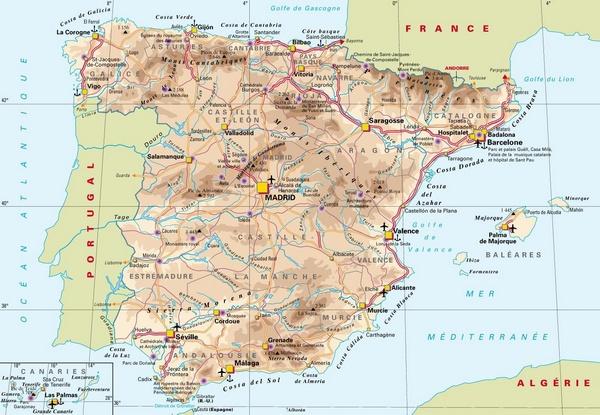 Aeroports En Espagne Carte | My blog