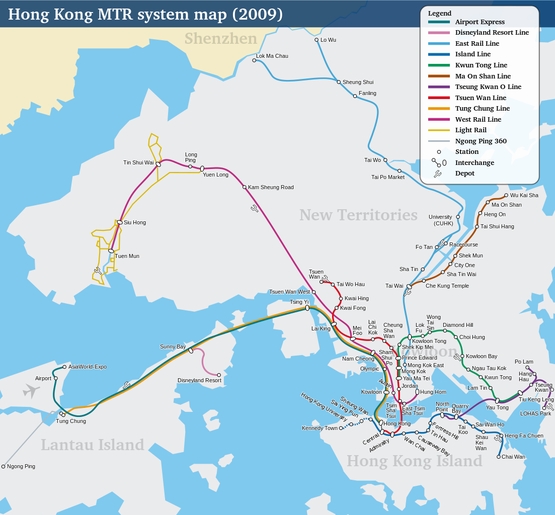 Large map of Hong Kong subway lines with different colors.