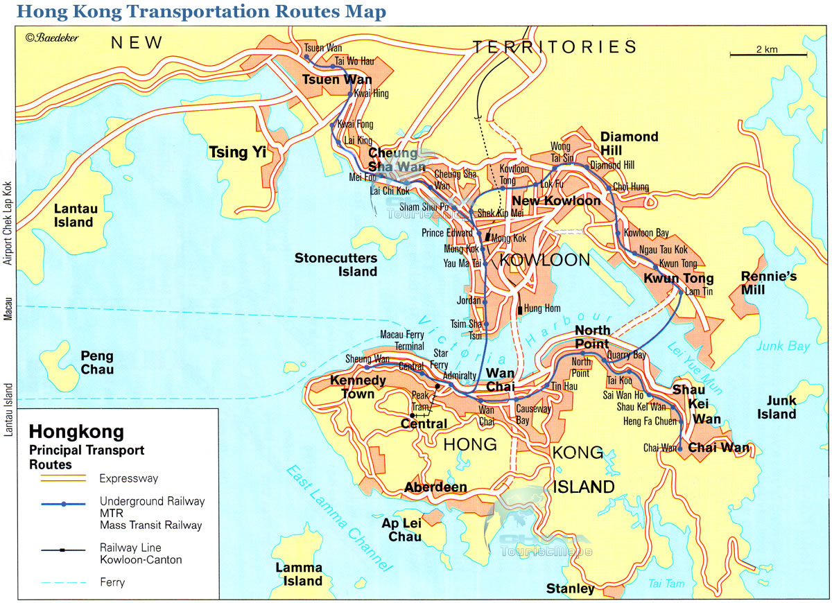 Map of Hong Kong major highways and transportation.