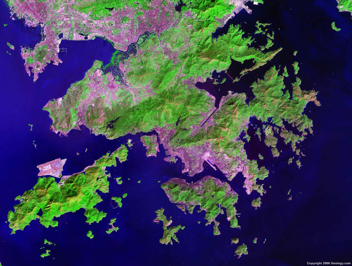 Satellite view of Hong Kong.