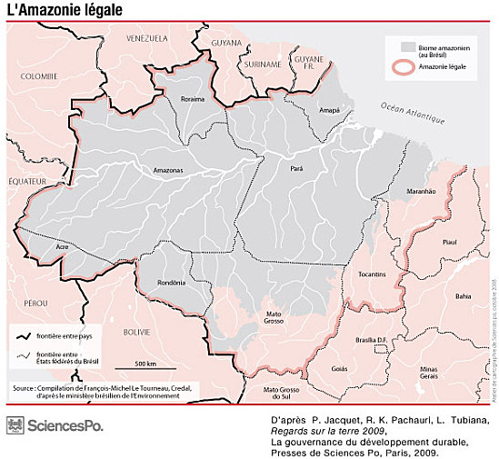 Biome map (ecoregion) Amazon which covers nine Brazilian states to form the Legal Amazon.