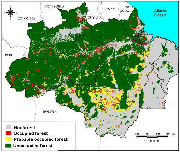 Map of Amazonia with areas of forest and non forest areas inhabited or uninhabited probably inhabited.