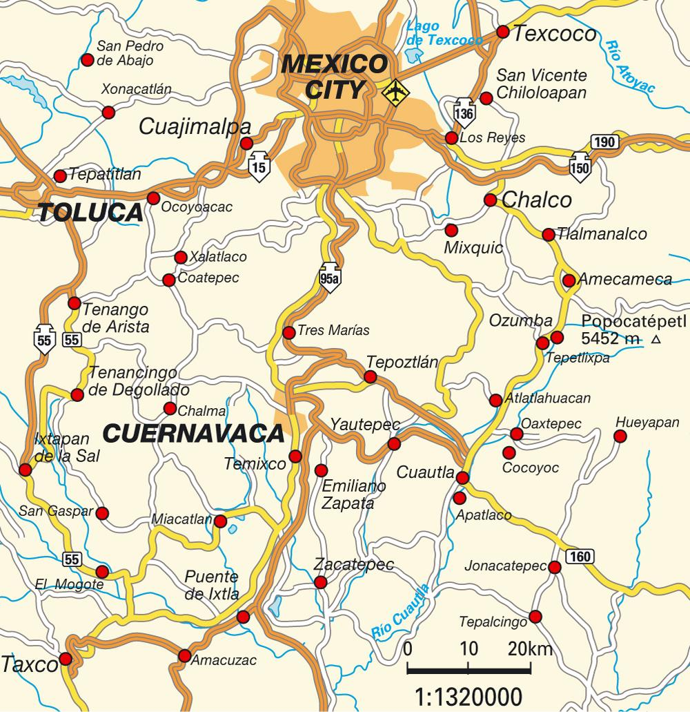 Map of roads around Mexico.