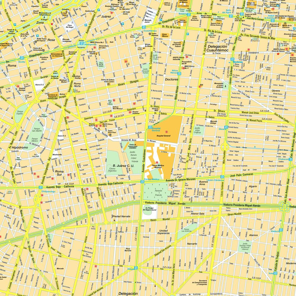 Detailed streets map of city of Mexico.