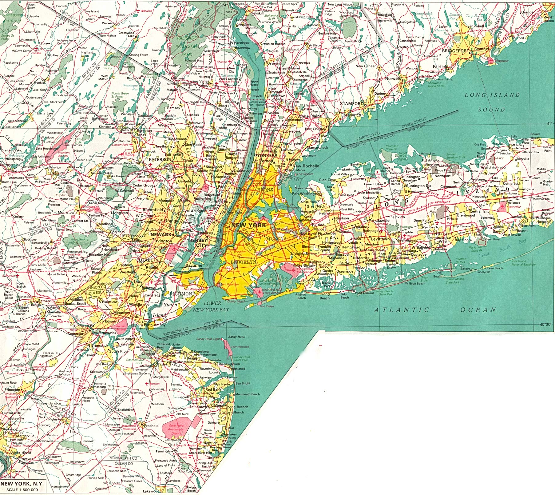 Map of new york city and surrounding areas