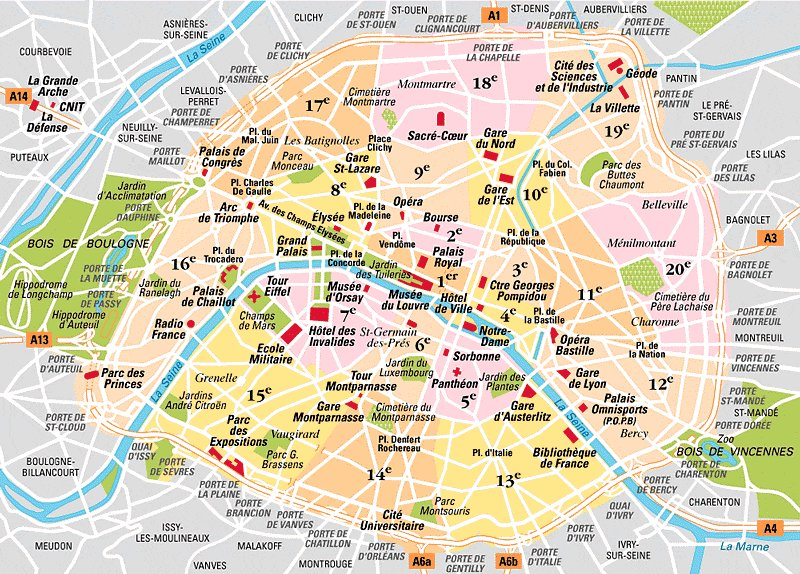 Map of districts of Paris.