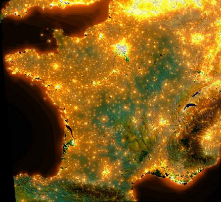 Satellite map of light pollution in France.