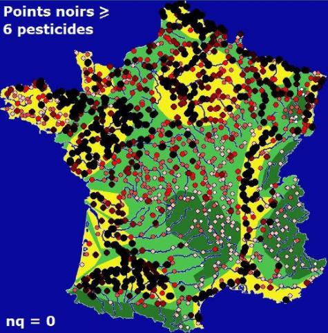 Map of pollution of watercourses by pesticides in France. The black dots represent the samples containing at least six different pesticides. The red color is through and the white dots correspond to the cleanest samples.