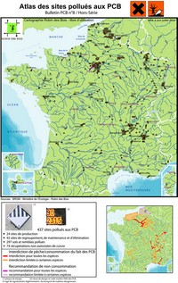 Map of PCB pollution in France in 2011.