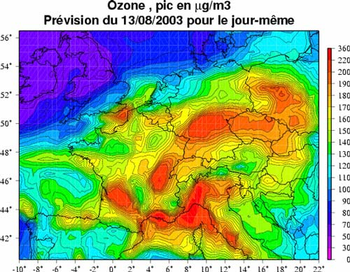 The peak ozone of 13/08/03.