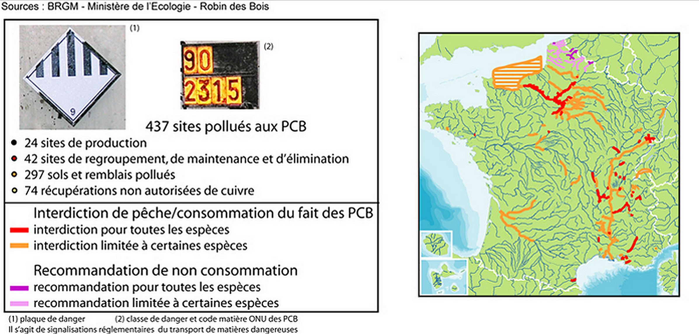 Map of fishing areas polluted by PCB in France.