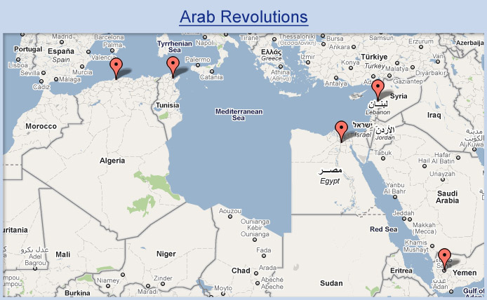 Map of countries that have undergone a revolution.