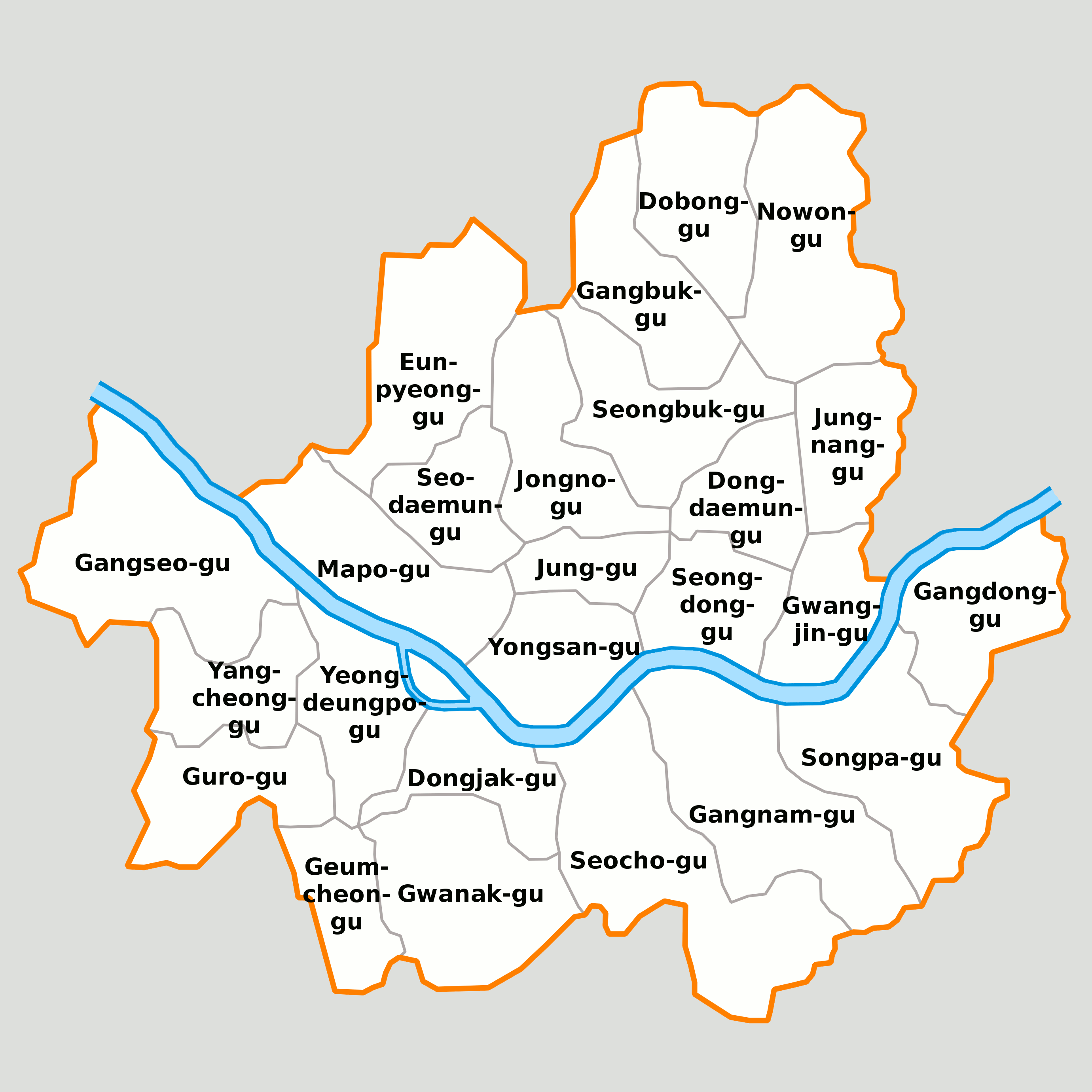 Map of seoul and its boroughs