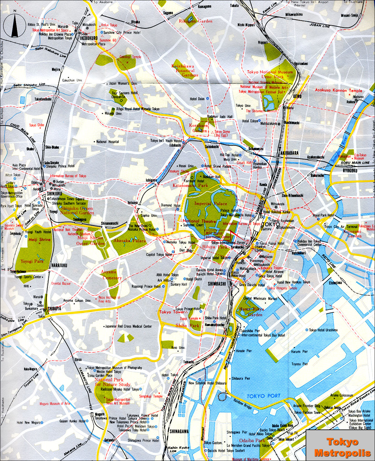 Tokyo Subway Map With Attractions.Maps Tokyo City Maps