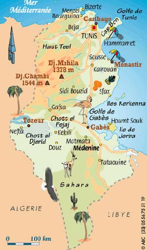 Decorative map of Tunisia.