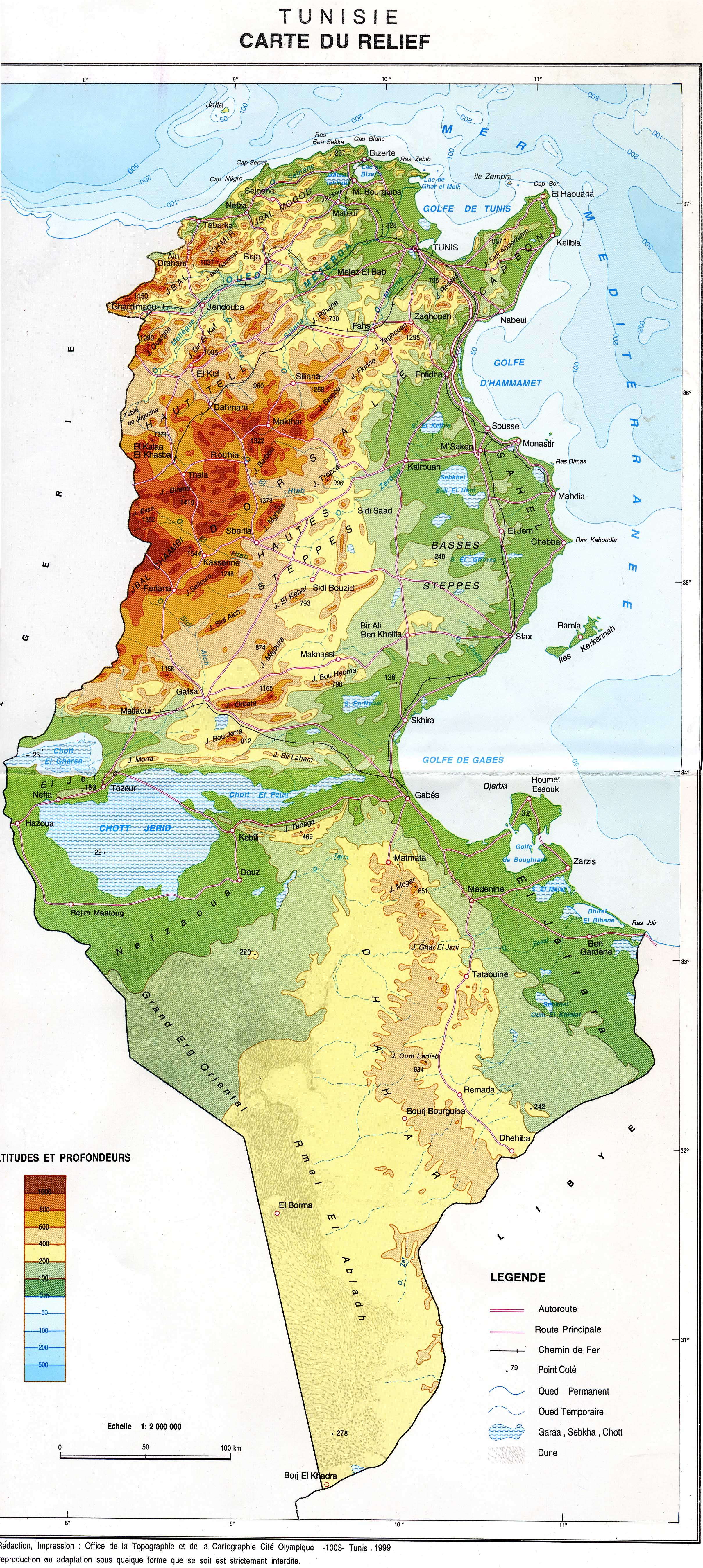 Mappi maps of countries tunisia relief map of tunisia with altitude and depth gumiabroncs Gallery
