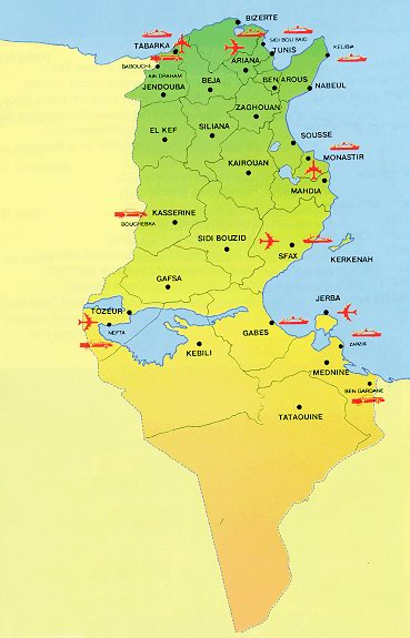 Map of major cities, regions and airports in Tunisia.