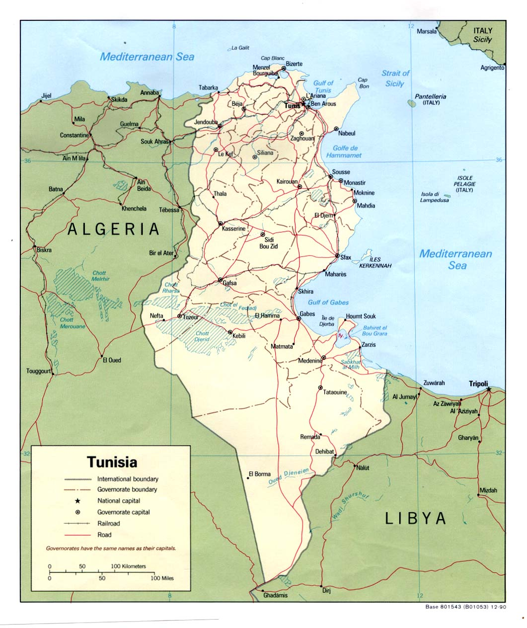 Map of Tunisia's borders with the railways, the capital and the capitals of each region.
