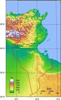 Topographic map of Tunisia with altitude in meters.
