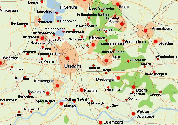 Map of the city of Utrecht and other cities in the province of Utrecht.
