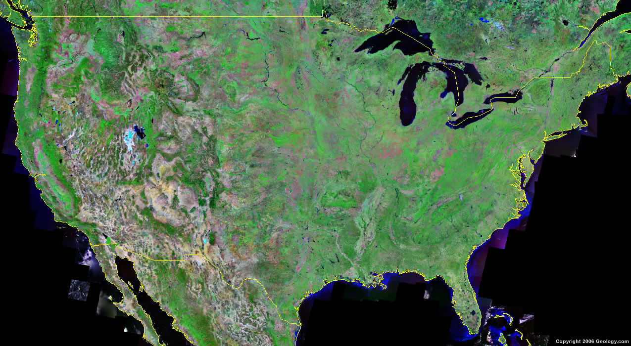 WwwMappinet Maps Of Countries The United States - Satellite image map